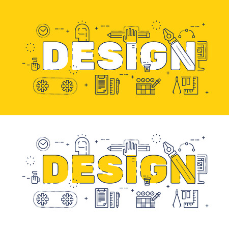 website words: Line icons design of words design and elements illustration concept for website , printing , book cover and corporate documents Illustration