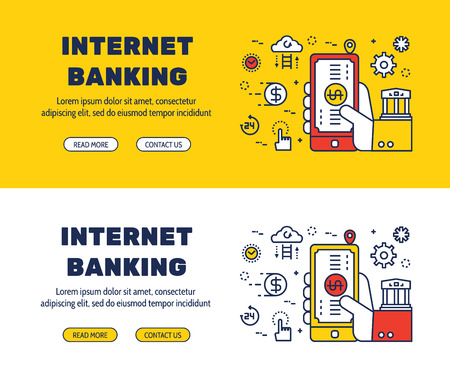 money transfer: Flat line icons design of INTERNET BANKING and elements illustration concept for website , printing , book cover and corporate documents. Illustration