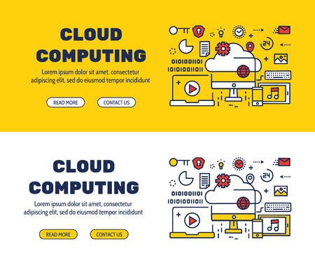 Flat line icons design of CLOUD COMPUTING and elements illustration concept for website , printing , book cover and corporate documents. Illustration