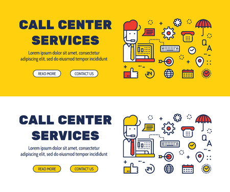 Flat line icons design of CALL CENTER SERVICES and elements illustration concept for website , printing , book cover and corporate documents. Illustration