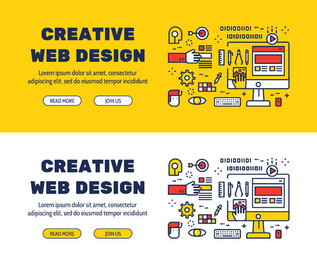 Flat line icons design of CREATIVE WEB DESIGN and elements illustration concept for website , printing , book cover and corporate documents. Illustration