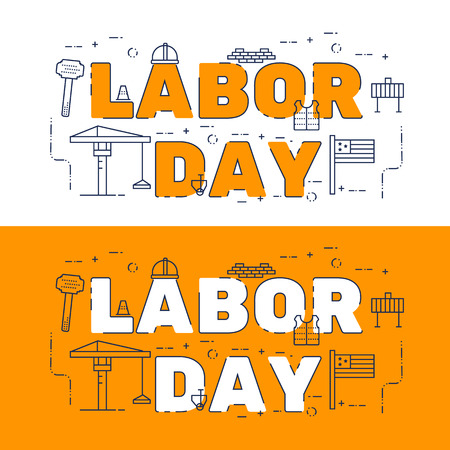 Line icons design of words LABOR DAY and elements illustration concept for website banner, printing , book cover and corporate documents.