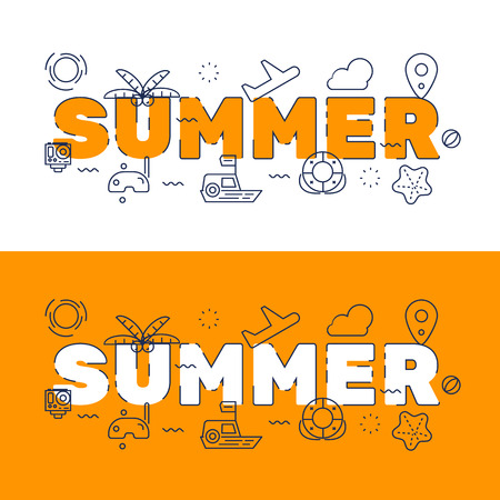 website words: Line icons design of words SUMMER and elements illustration concept for website banner, printing , book cover and corporate documents.