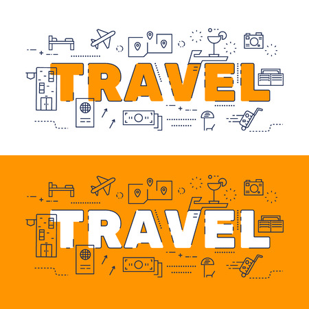 website words: Line icons design of words TRAVEL and elements illustration concept for website banner, printing , book cover and corporate documents