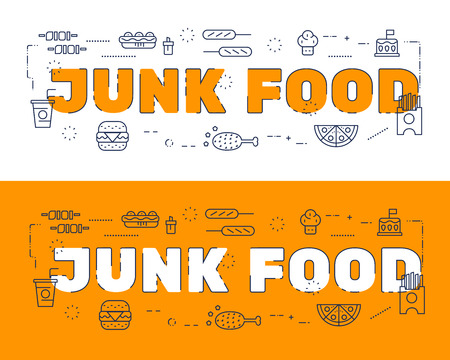 website words: Line icons design of words JUNK FOOD and elements illustration concept for website banner, printing , book cover and corporate documents. Illustration