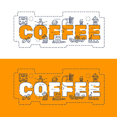 Line icons design of words COFFEE and elements illustration concept for website banner, printing , book cover and corporate documents. Illustration