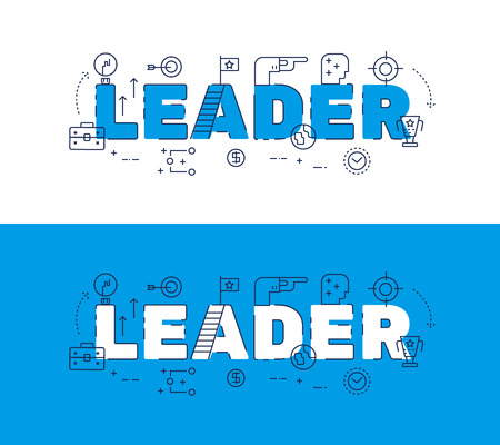 website words: Line icons design of words LEADER and elements illustration concept for website banner, printing , book cover and corporate documents Illustration