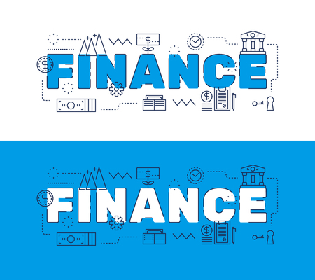 Line icons design of words FINANCE and elements illustration concept for website banner, printing , book cover and corporate documents.
