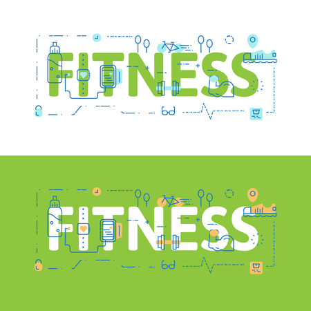 Line icons illustration concept of words FITNESS and elements Vector illustration concept for website banner, printing or infographics.