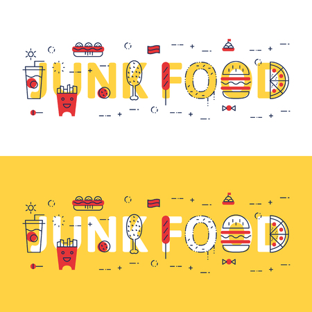 Line icons illustration concept of words JUNK FOOD and elements Vector illustration concept for website banner, printing or infographics.