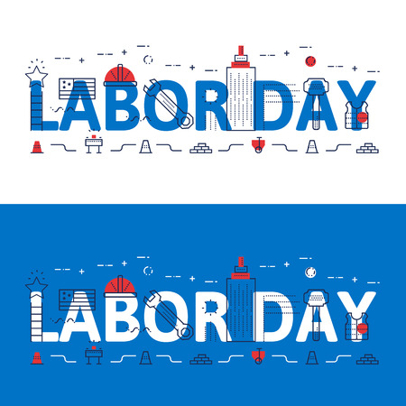 Line icons illustration concept of words LABOR DAY and elements Vector illustration concept for website banner, printing or infographics.