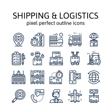 Shipping & logistics : Outline icons , pictogram and symbol collection Illustration