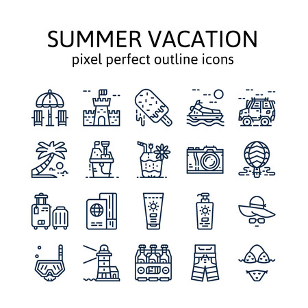 Summer vacation : Outline icons , pictogram and symbol collection