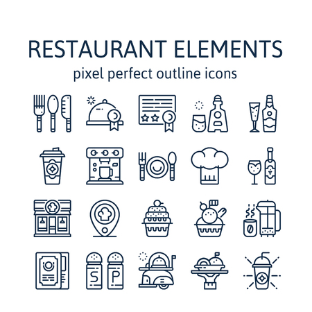 Restaurant Elements : Outline icons , pictogram and symbol collection.