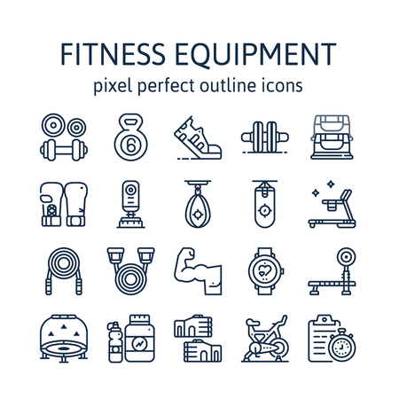 Fitness Equipment : Outline icons , pictogram and symbol collection.