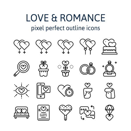Love & Romance : Outline icons , pictogram and symbol collection.