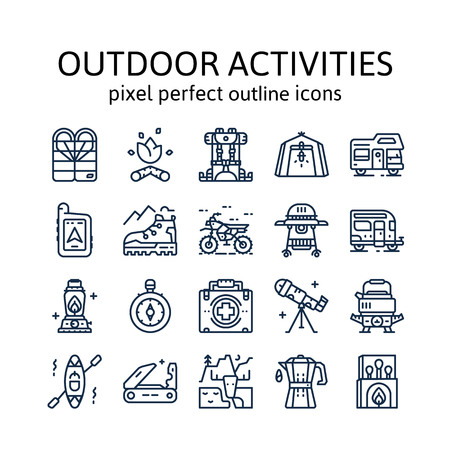 Outdoor Activities : Outline icons , pictogram and symbol collection