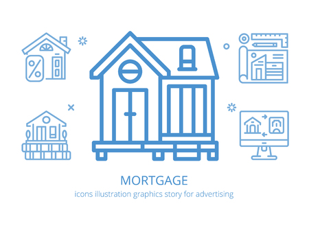 Mortgage : icons illustration graphics. Illustration