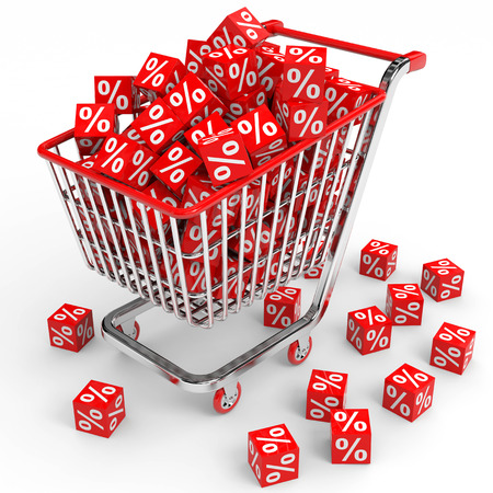 Shopping cart with red cubes with percent  White background  photo
