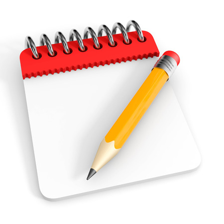 Notepad and pencil  3D render image
