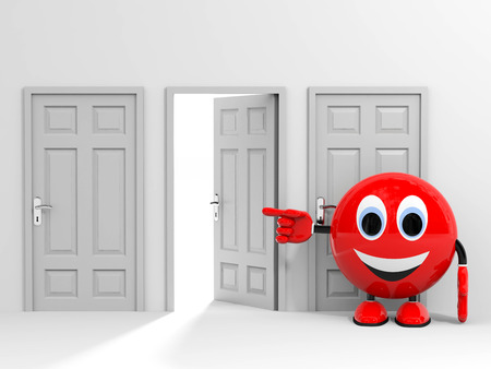 Exit  Entrance  Choice  Pointing at open door  3D render image  photo