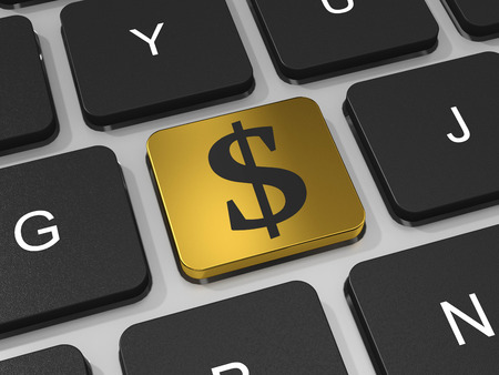 Golden button with dollar sign on the keyboard  Profit concept  3D render image  photo