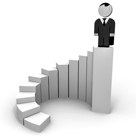 3D business people. Top of career. 3D illustration. illustration