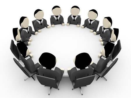 group discussion: 3D business people. Meeting. 3D illustration. Stock Photo