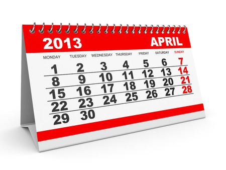 Calendar April 2013 on white backround. 3D illustration. illustration