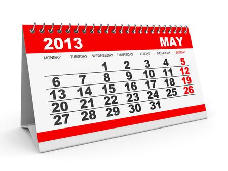 Calendar May 2013 on white backround. 3D illustration. illustration