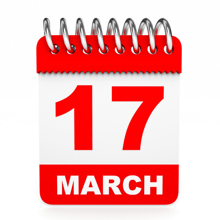 march 17: Calendar on white background. 17 March. 3D illustration.
