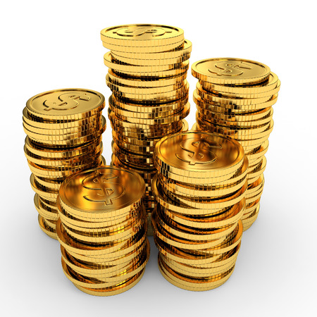 Heap gold coins on white background. 3D illustration.