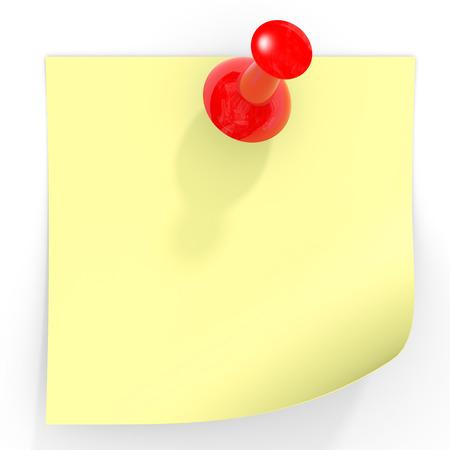 Yellow stick note on white. 3D illustration. illustration