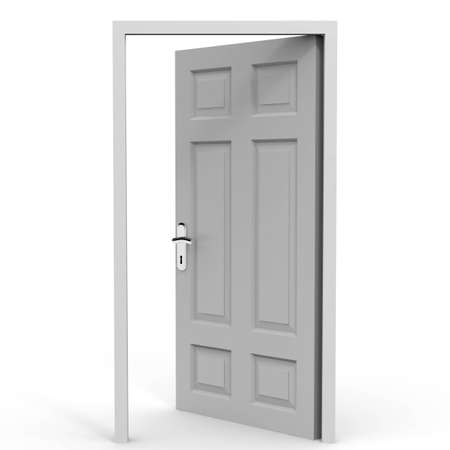 Exit. Entrance.Open door on white background. Oppotunity. 3D Illustration. Stock Photo