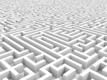 White endless maze. 3D illustration.