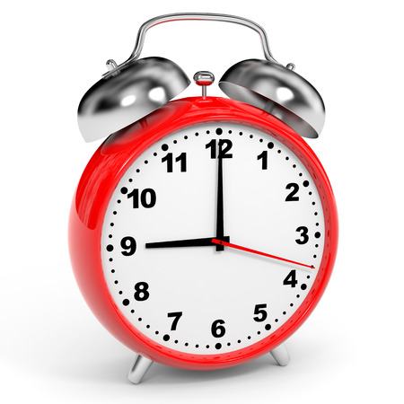 Red alarm clock on white . 3D illustration.