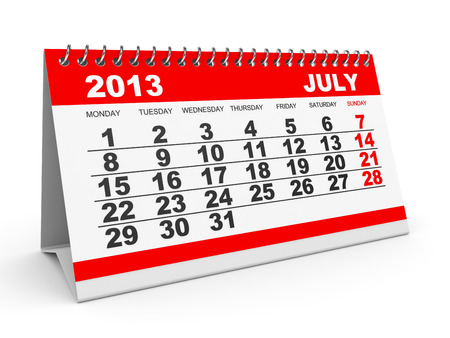 Calendar July 2013 on white . 3D illustration. illustration