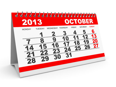 Calendar October 2013 on white . 3D illustration. illustration