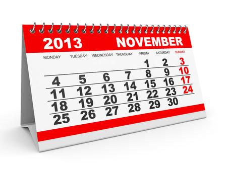Calendar November 2013 on white . 3D illustration. illustration