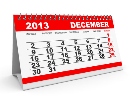 Calendar December 2013 on white background. 3D illustration. illustration