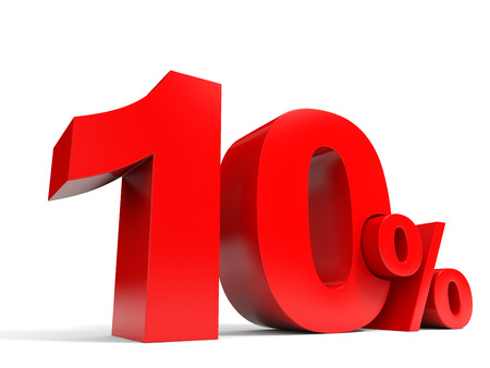 Red ten percent off. Discount 10%. 3D illustration. Stock Photo