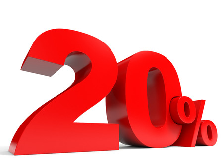Red twenty percent off. Discount 20%. 3D illustration. Stock Photo