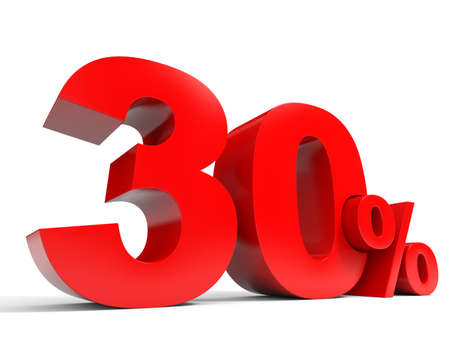 Red thirty percent off. Discount 30%. 3D illustration.