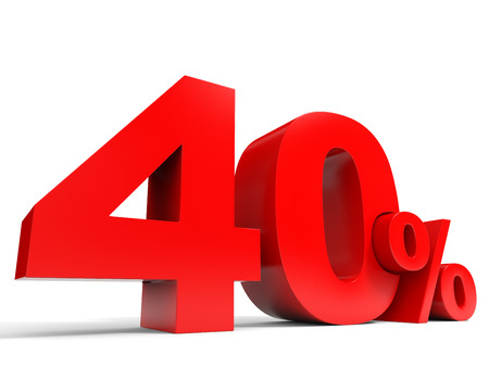 Red forty percent off. Discount 40%. 3D illustration.