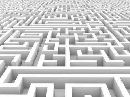 complex navigation: White endless maze. 3D illustration.