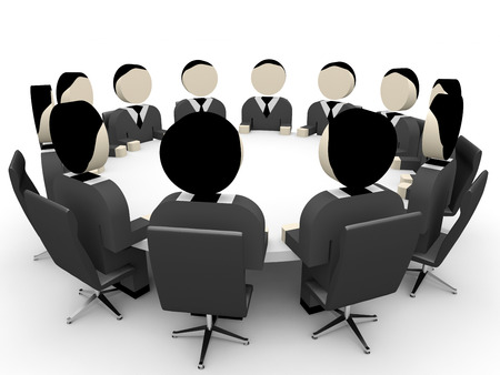3D business people. Meeting. 3D illustration. Stock Photo