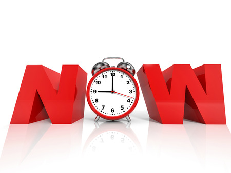 Time NOW concept on white background. 3D illustration.