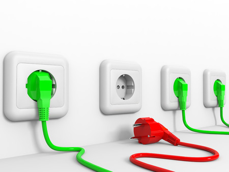 Plugs and socket. 3D illustration. illustration