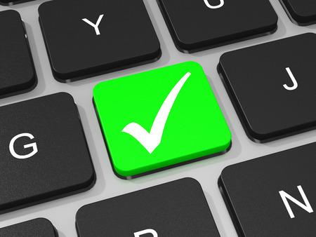 Tecla Se�al verde en el teclado de la computadora port�til. Ilustraci�n 3D. photo