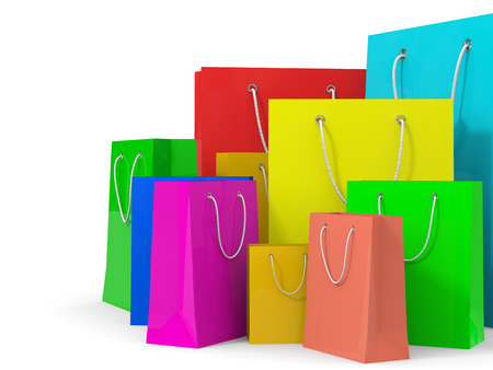 business bags: Shopping bags on white background